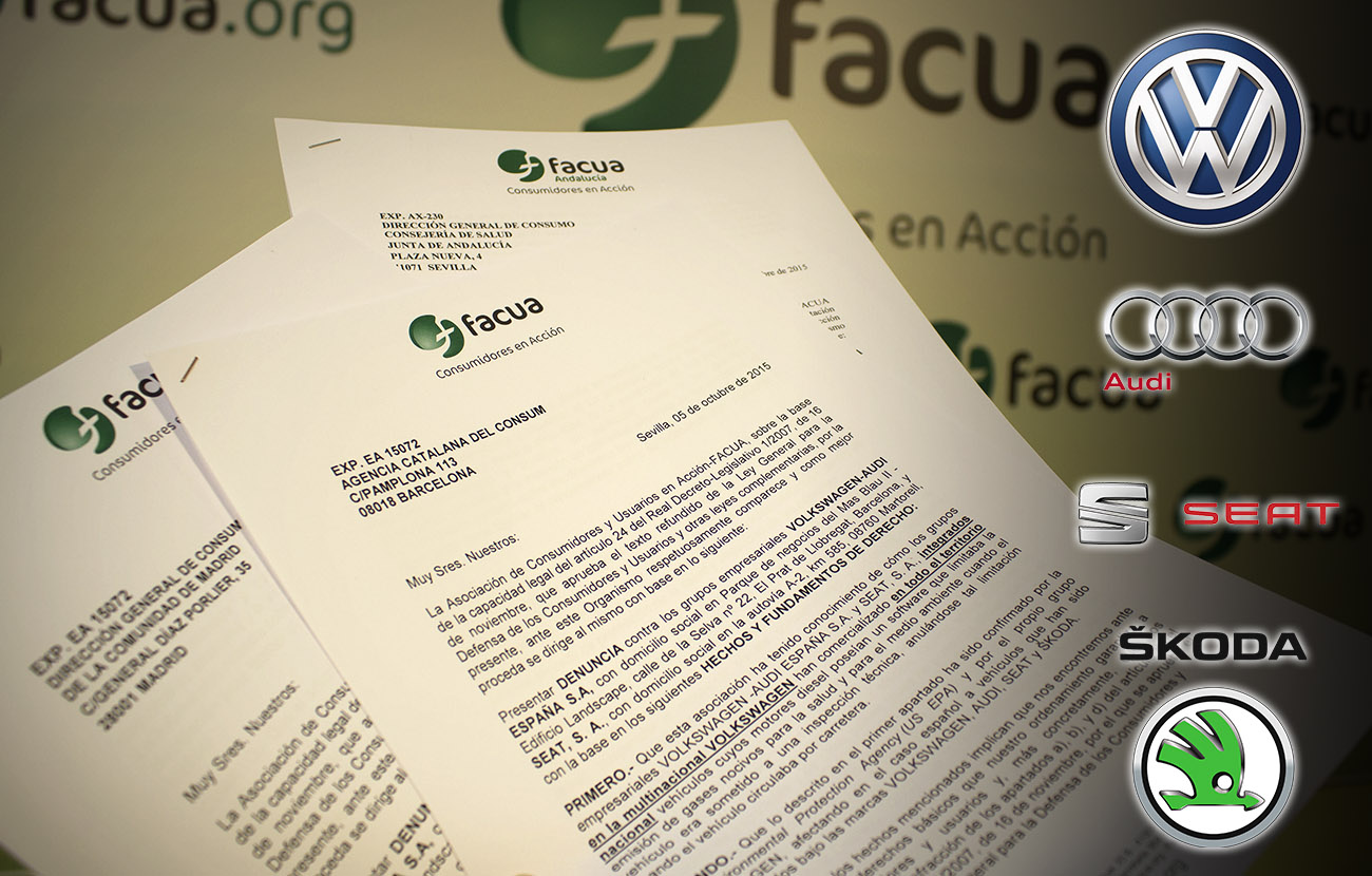 FACUA reports Volkswagen subsidiaries in Spain to the 17 regional consumer protection authorities