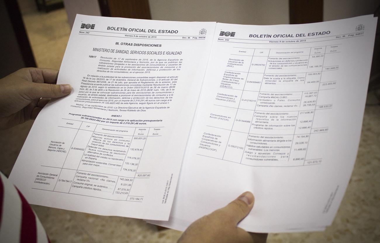 El BOE hace públicas las subvenciones concedidas a las asociaciones de consumidores en 2015
