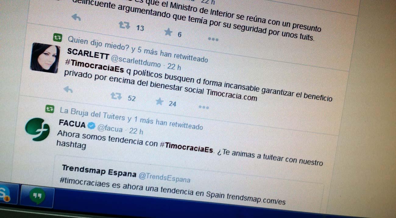 #TimocraciaEs TT nacional el día de su lanzamiento tras una gran repercusión mediática del libro