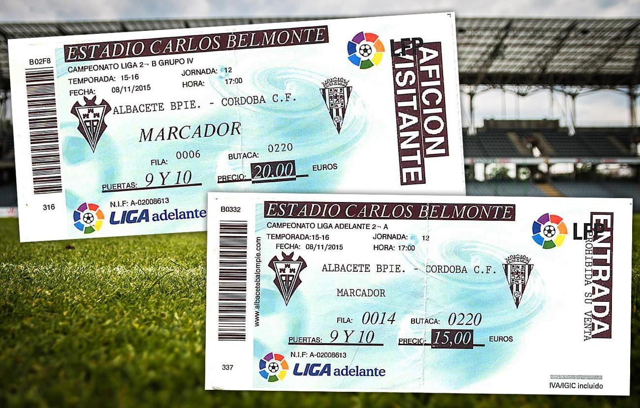 El Albacete Balompié cobró entradas a algunos aficionados del Córdoba C.F. por encima del precio anunciado