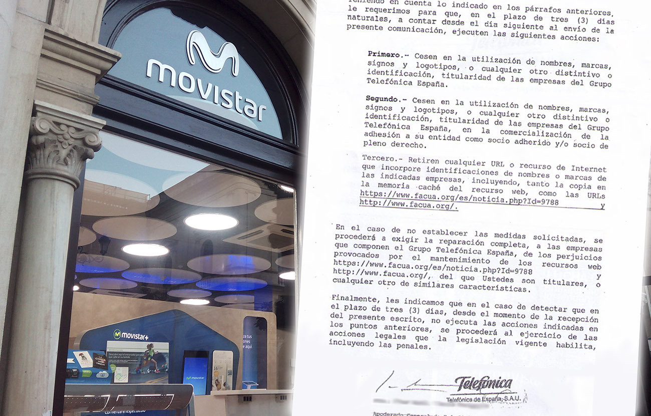 Movistar amenaza a FACUA con una querella si vuelve a mencionar su nombre #MordazaMovistar