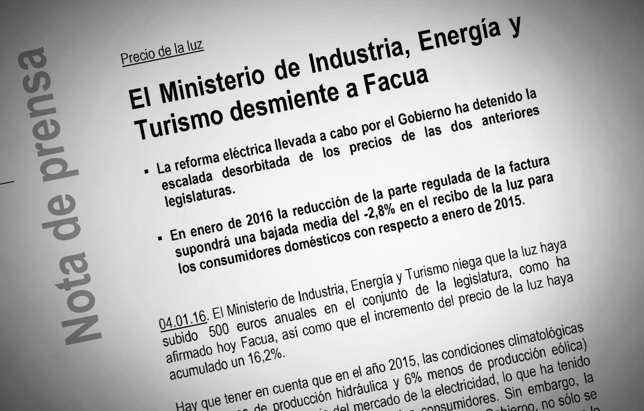 El Ministerio de Industria (des)miente a FACUA y a todos los consumidores