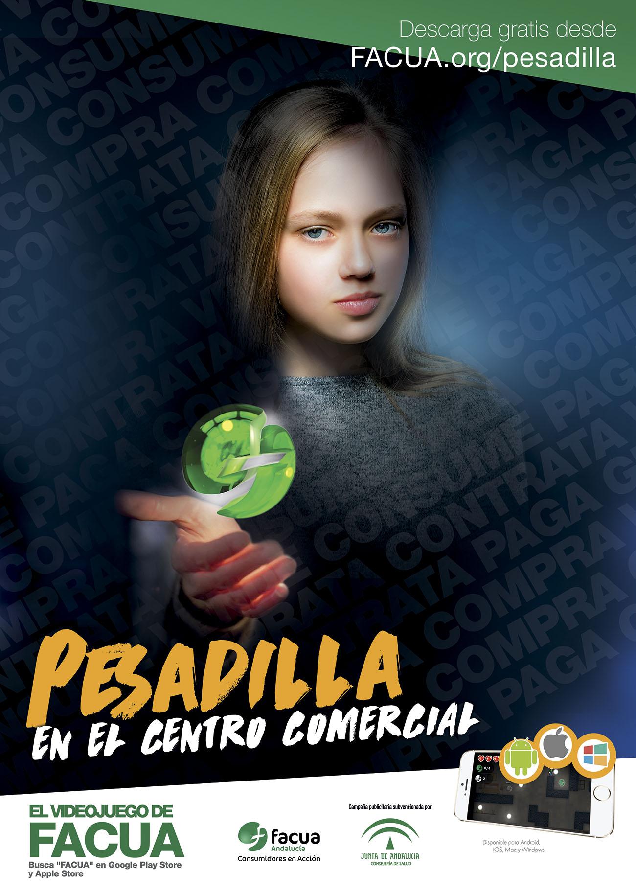 Cartel de 'Pesadilla en el centro comercial, el videojuego de FACUA'.
