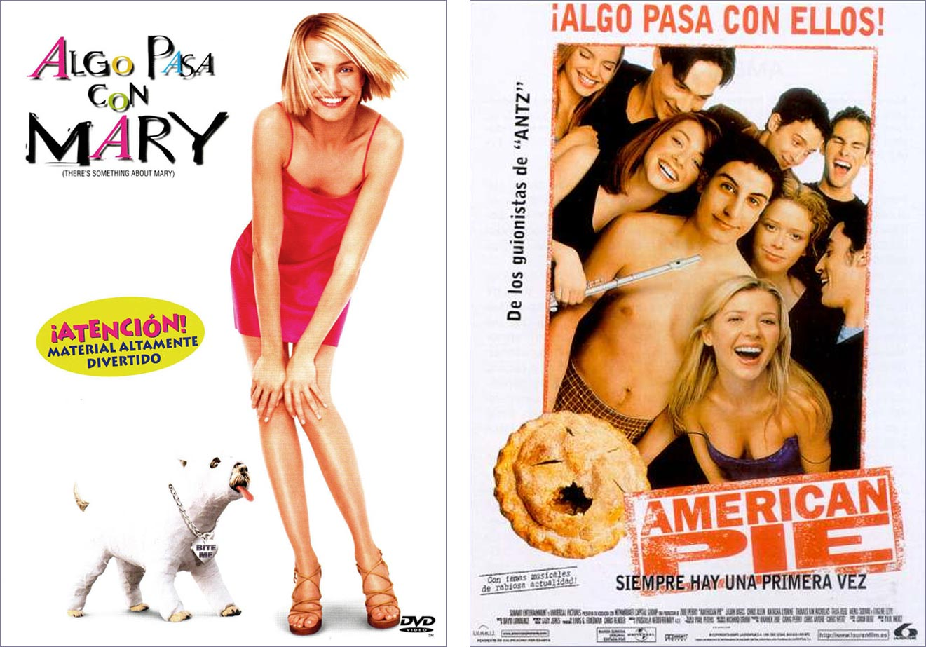 Carteles de 'Algo pasa con Mary' y 'American pie'. | Imágenes: Universal y 20th Century Fox.