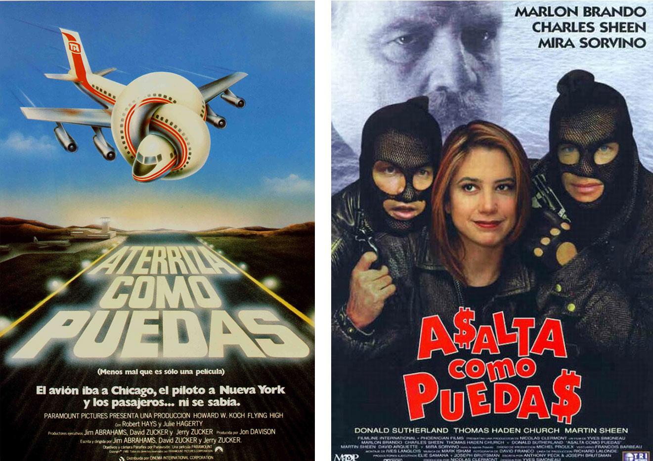 Tras el éxito de 'Aterriza como puedas', se imitó el título en español en otras películas protagonizadas por Leslie Nielsen, aunque no contasen con los mismos directores... e incluso acabó recurriéndose a él en una penosa comedia de Marlon Brando. | Imágenes: Paramount y Tri Pictures.