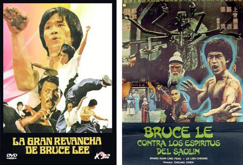 Carteles de dos de las muchas películas protagonizadas por un falso Bruce Lee. | Imágenes: Filmline Enterprises y Keung Chung Ping.