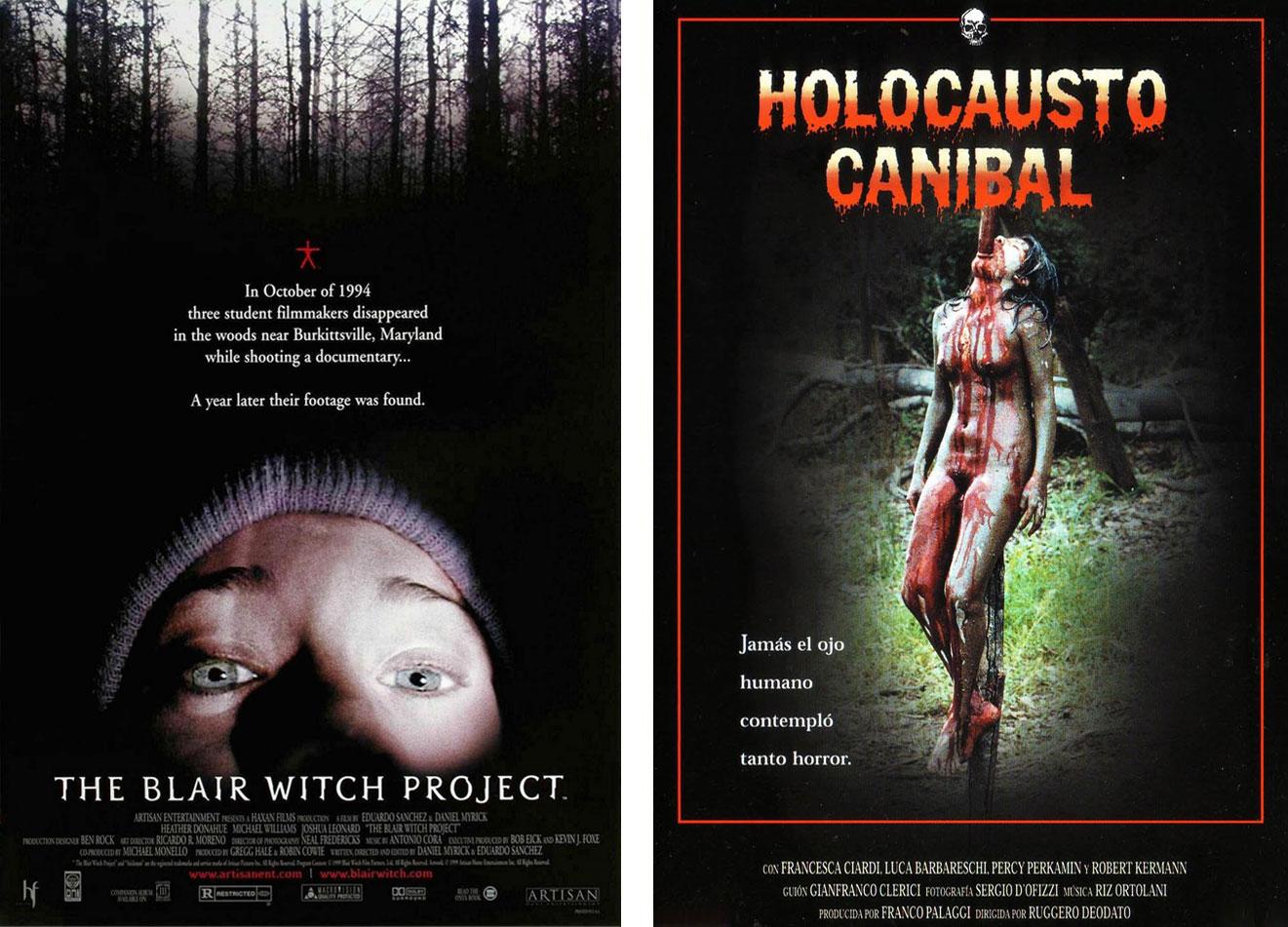 'El proyecto de la bruja de Blair' y 'Holocausto caníbal' dos falsos documentales estrenados en 1999 y 1980. | Imágenes: Artisan Entertainment y Manga Films.