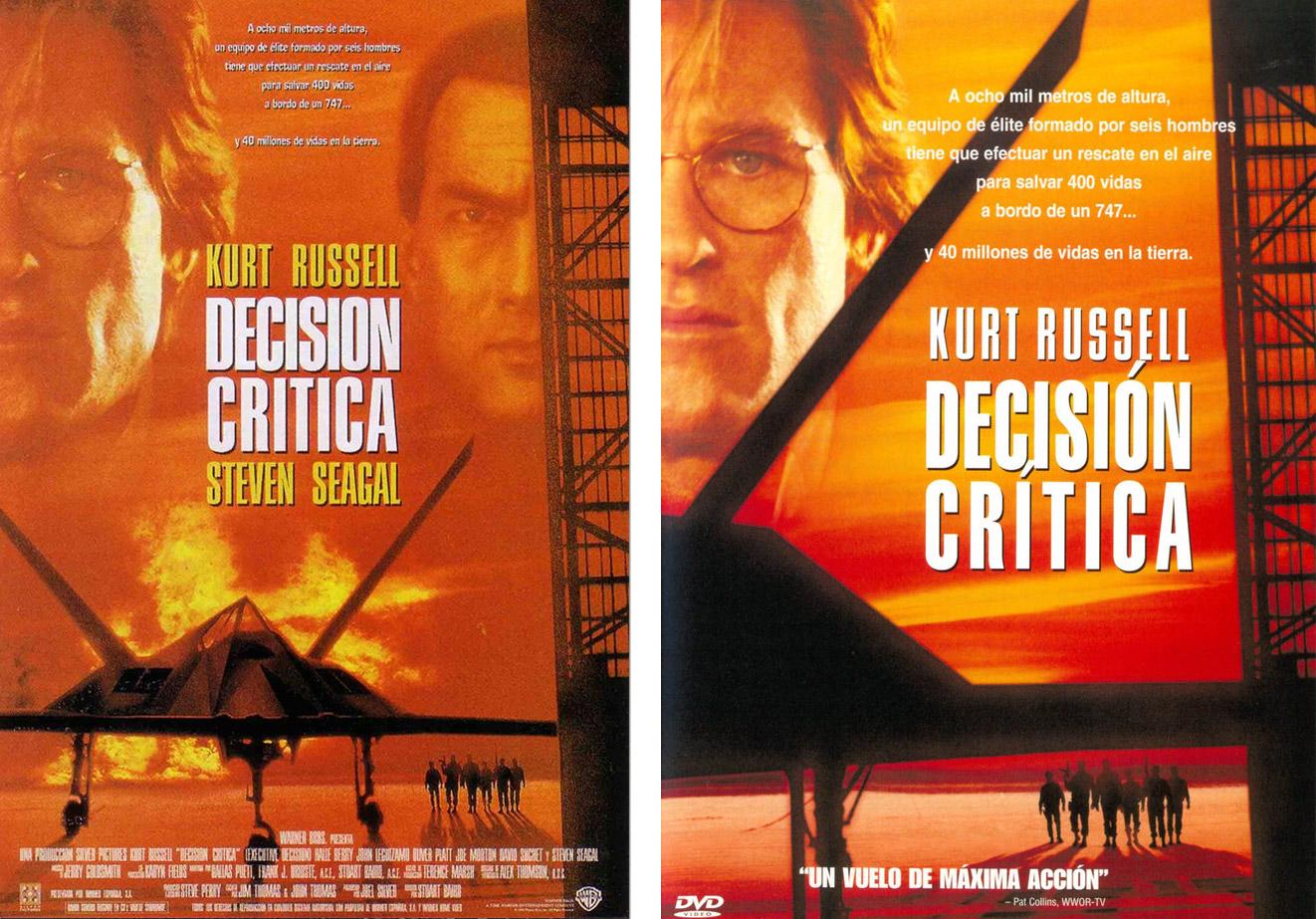 A la izquierda, el cartel que lanzaron para el estreno de 'Decisión crítica' y a la derecha, la carátula de su edición en DVD. | Imagen: Warner Bros y Silver Pictures.