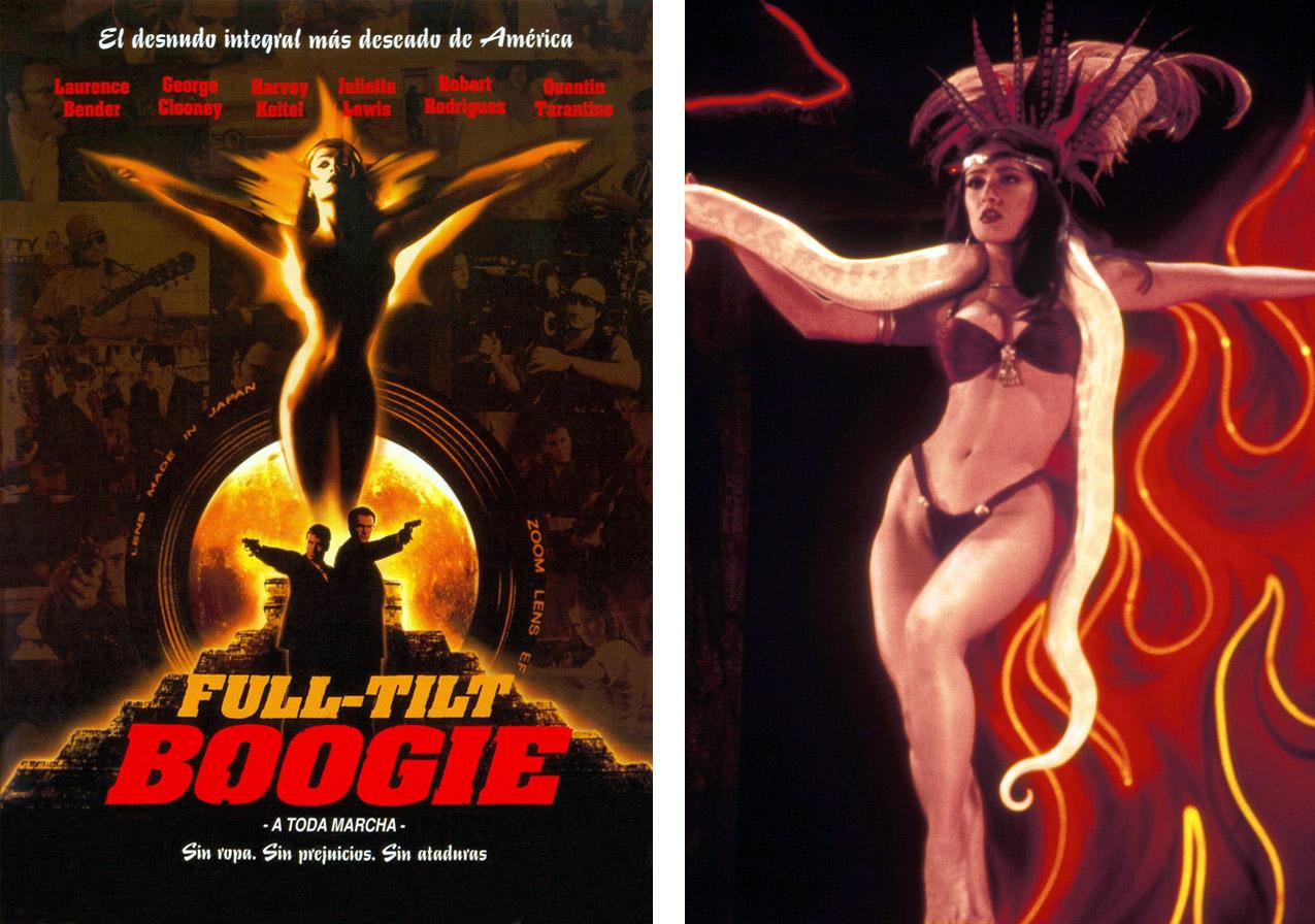 El cartel de 'Full tilt boogie' y una imagen de la escena de Salma Hayek por la que 'Abierto hasta el amanecer' ha pasado a la posteridad. | Imágenes: Miramax.