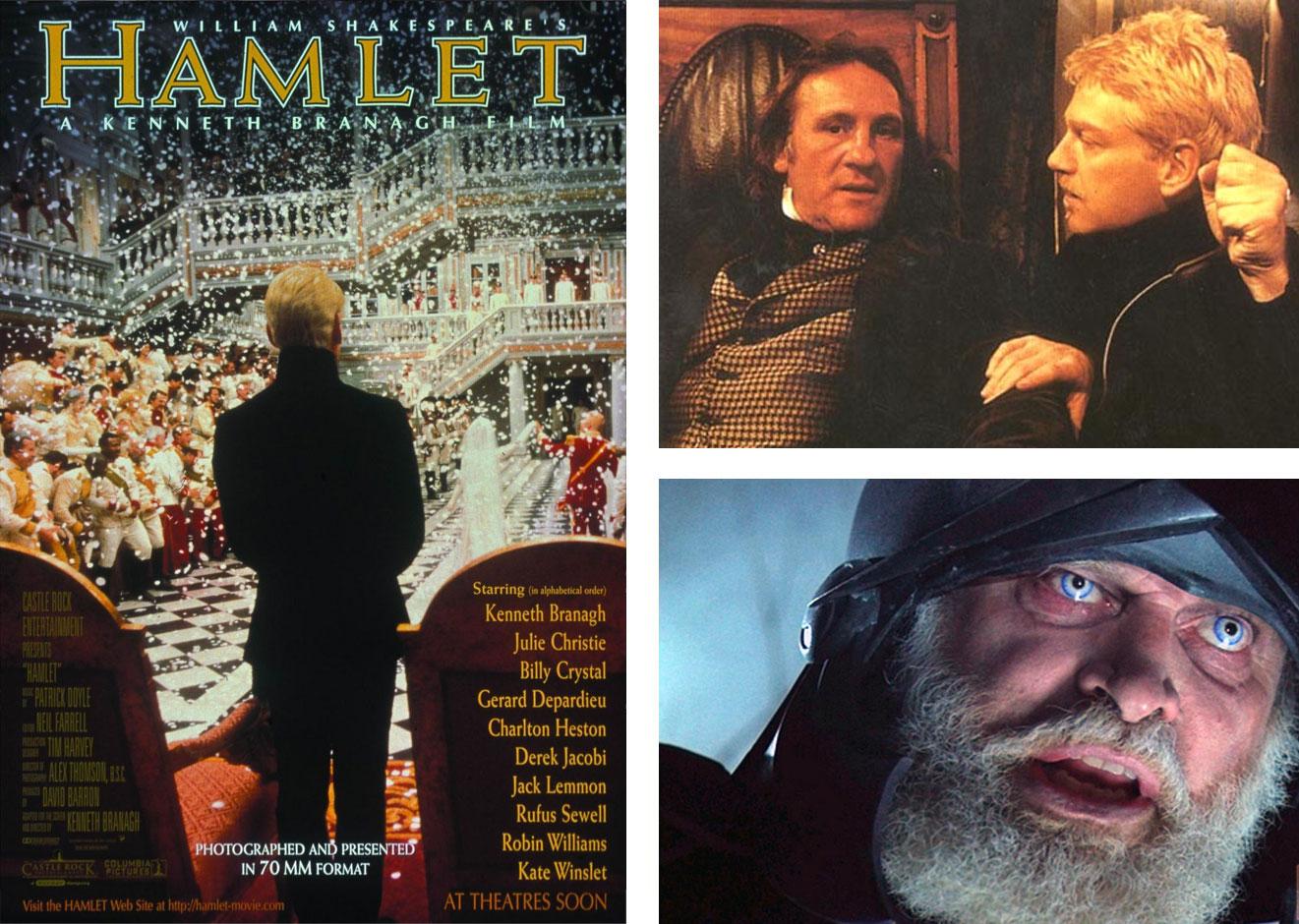 Anunciados en el cartel, Gèrard Depardieu y Richard Attenborough no aparecen en la versión reducida del 'Hamlet' de Kenneth Branagh estrenada en la mayoría de los cines. | Imágenes: Castle Rock Entertaiment.