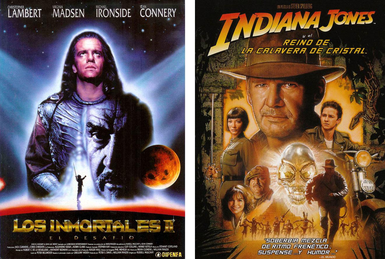 'Los inmortales 2: El desafío' e 'Indiana Jones y el reino de la calavera de cristal', dos secuelas dolorosas para los ojos. | Imágenes: Columbia Pictures y Paramount Pictures.