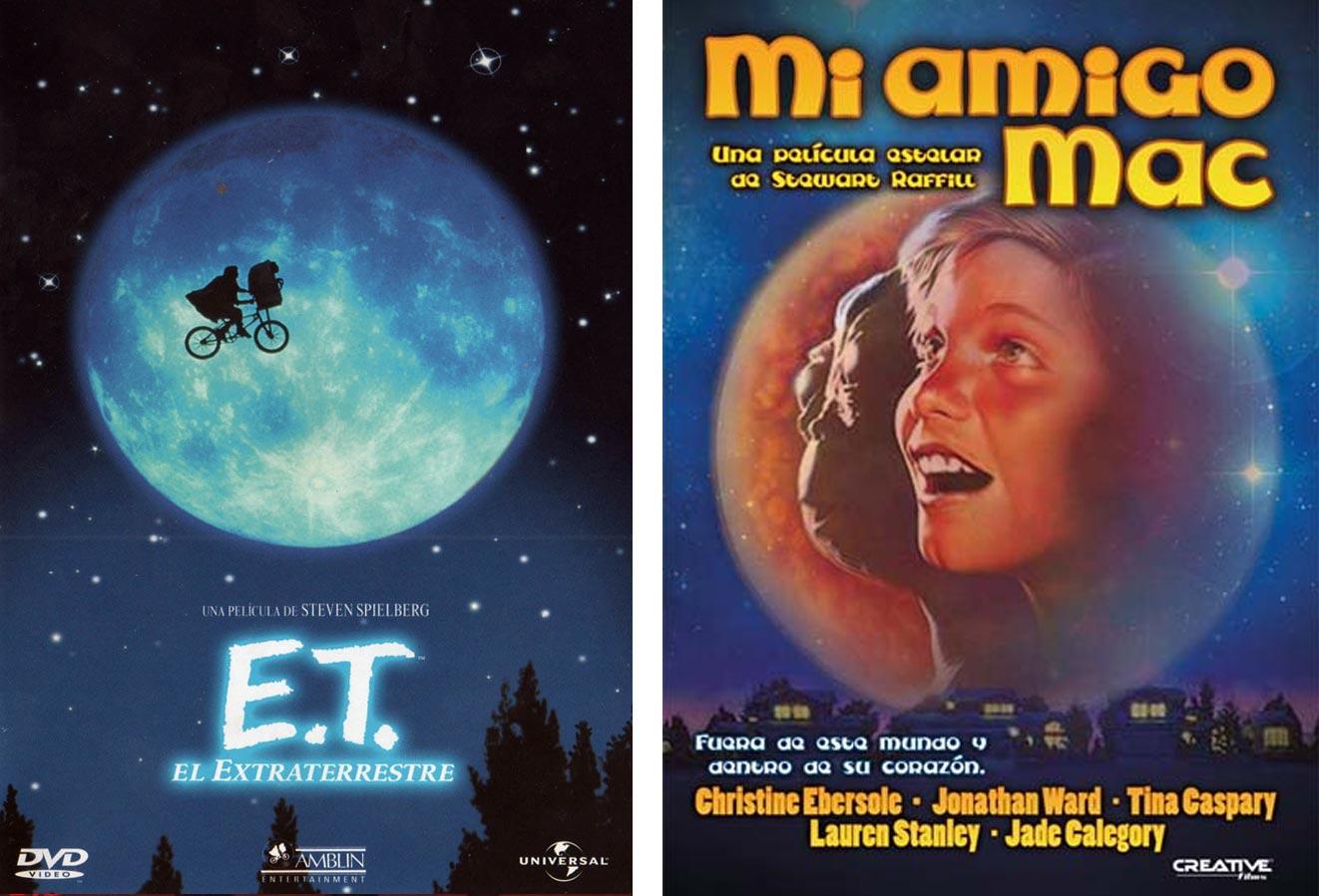 Carteles de 'ET. El extraterrestre' y 'Mi amigo mac'. | Imágenes: Universal y Columbia.