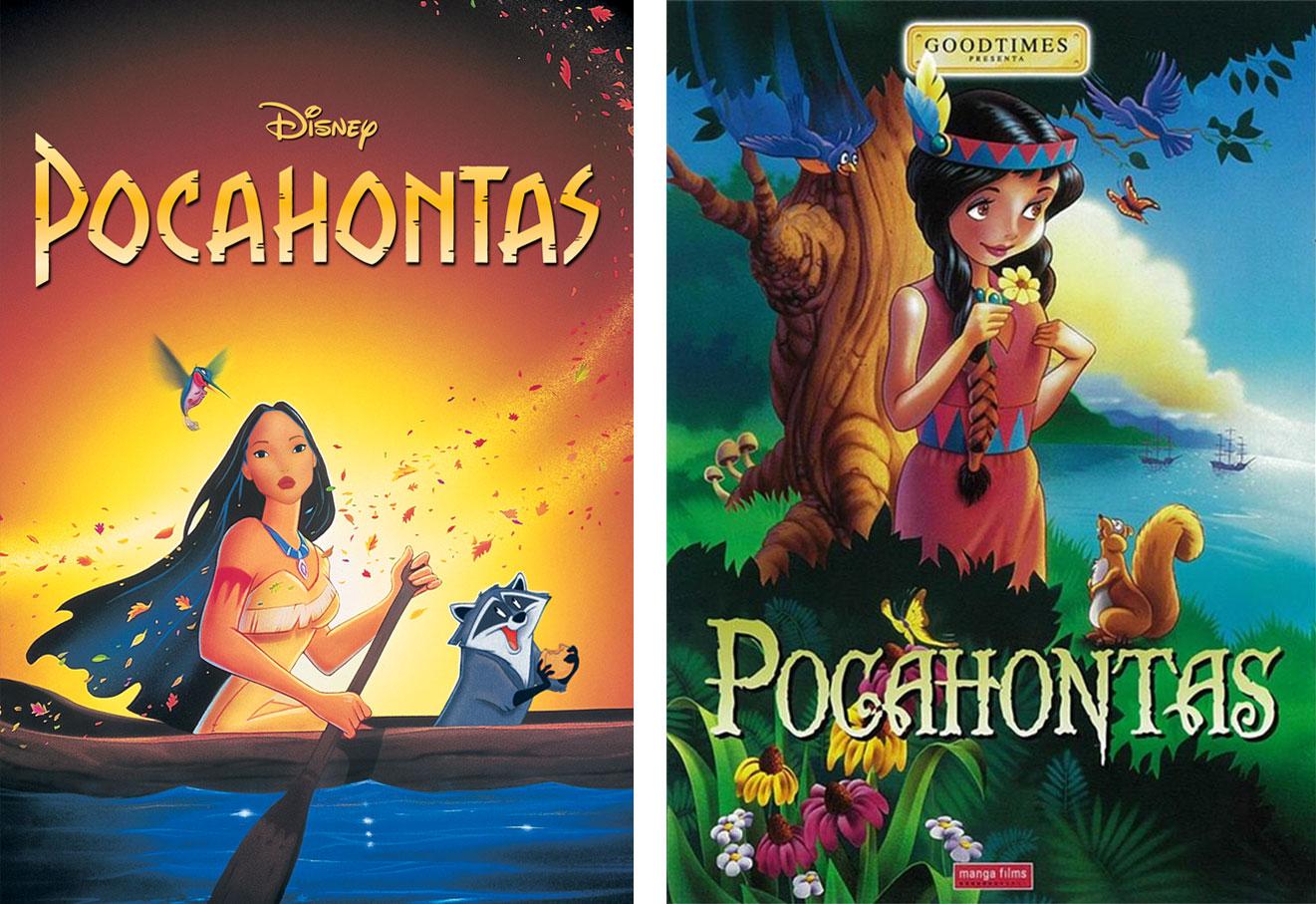 Algunos abuelos regalaron a sus nietos el DVD de un 'Pocahontas' que no tenía nada que ver con el de Disney. | Imágenes: Disney y Manga Films.