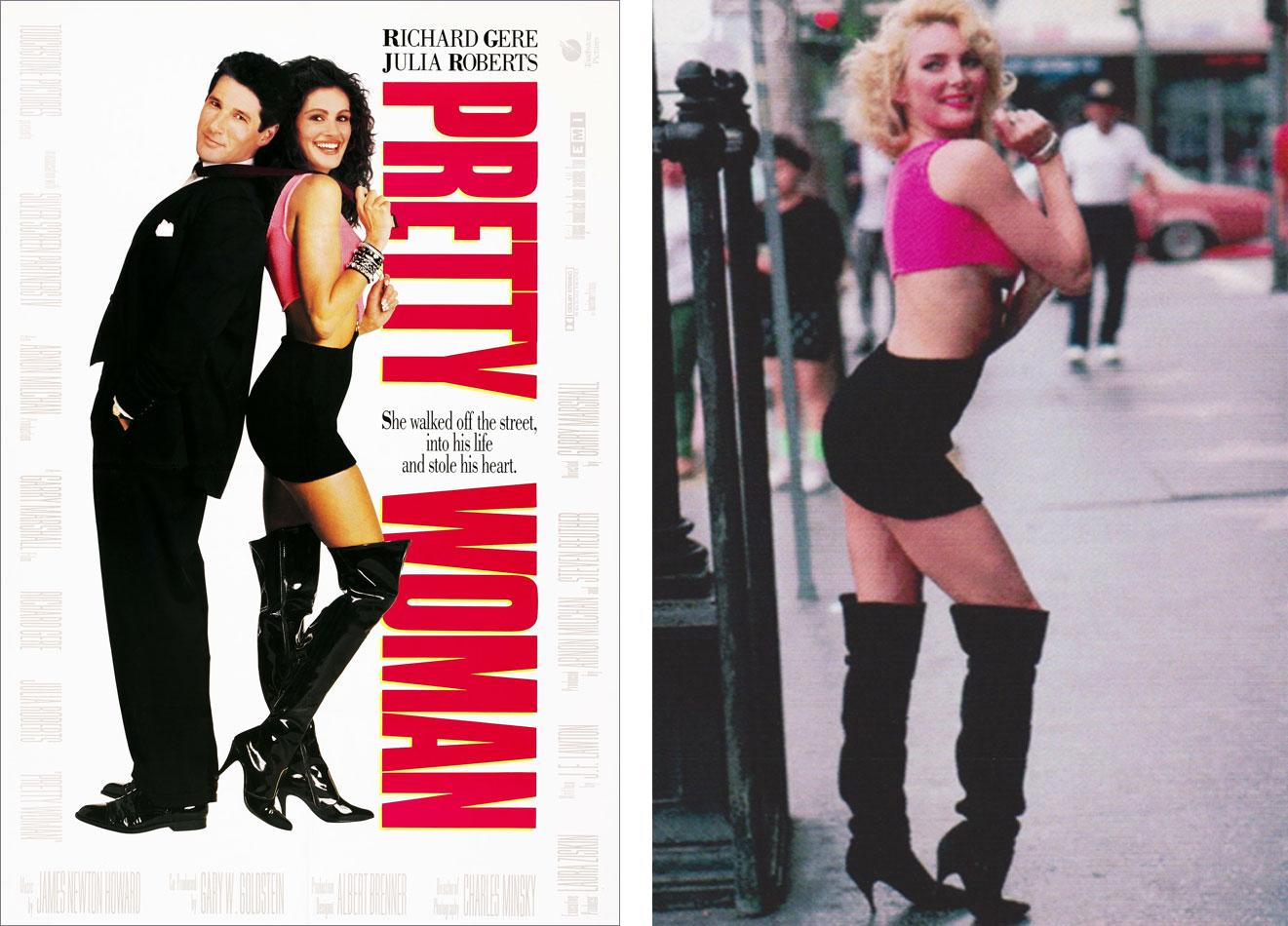 En el cartel de 'Pretty Woman', las piernas de Julia Roberts pertenecían en realidad a la modelo Shelley Michelle. | Imágenes: Touchstone Pictures.