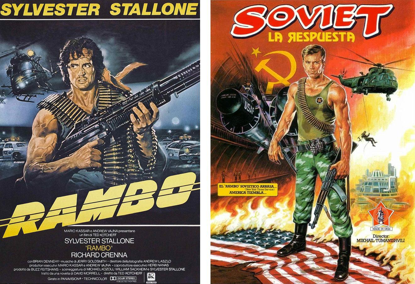 Dos años antes del estreno de la peli de Stallone que nos cuenta lo buenas personas que eran los yihadistas en Afganistan, se estrenaba 'Soviet. La respuesta', presentada como un Rambo rojo. | Imágenes: Ízaro Films y Daga Films.