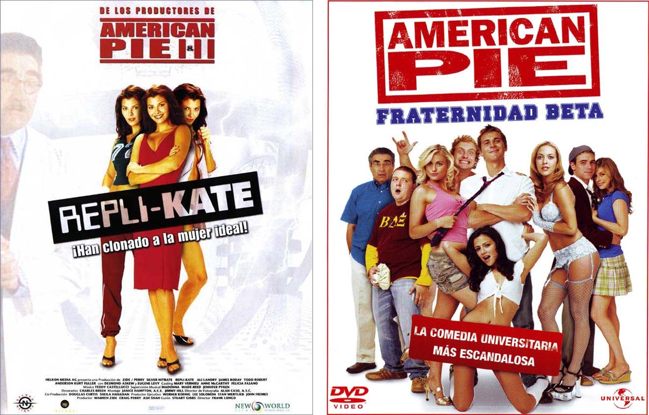 Carteles de Repli-Kate y de uno de los subproductos lanzados con el reclamo American pie presenta en el título. | Imágenes: 20th Century Fox.