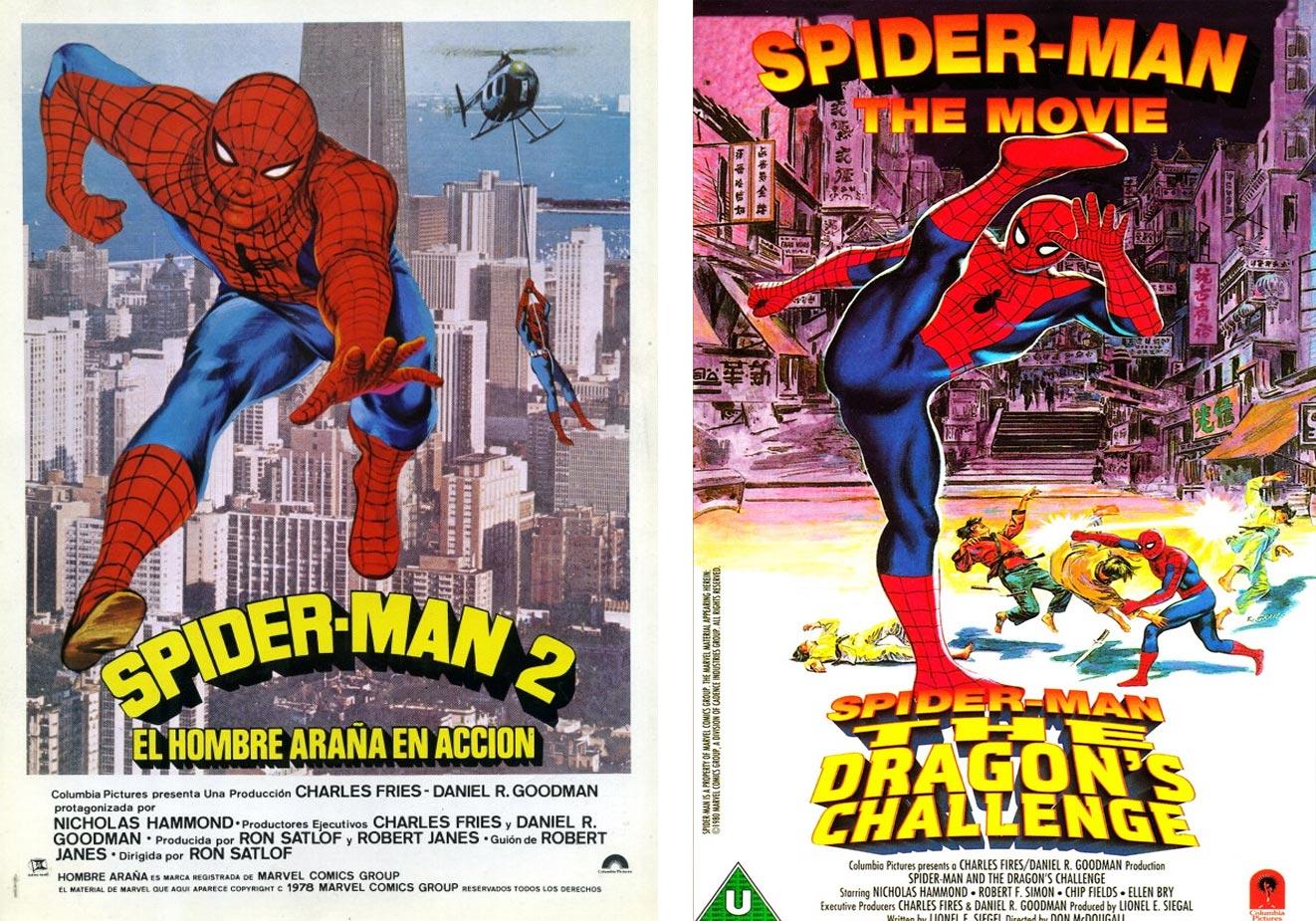 El cartel español de 'Spider-Man 2' y el británico de 'Spider-Man. El desafío del dragón'. | Imágenes: Columbia Pictures.