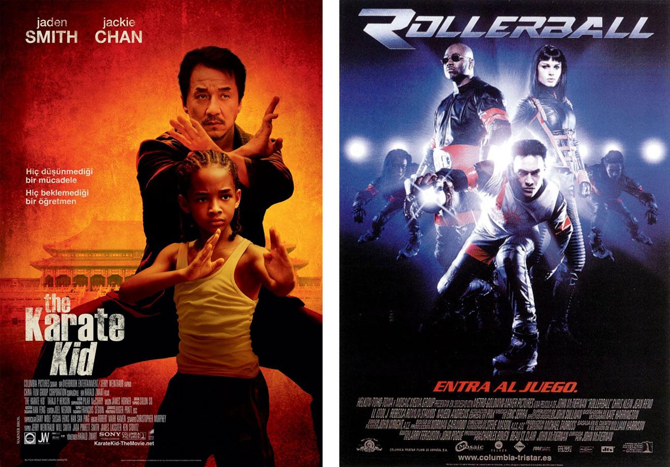 'The Karate Kid' y 'Rollerball', dos crímenes disfrazados de 'remakes'. | Imágenes: Columbia Pictures.